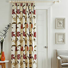 """Kinsale Floral Cotton Lined Pleated Tape Top Door Curtain 46"""" x 84"""" & 66"""" x 84"""""""