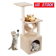 """Cat Tree 36"""" Condo Furniture Play Toy Kitten Pet House Scratch Post Tower Beige"""