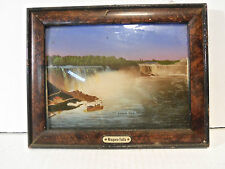 Antique Bowed Glass Niagara Falls Reversed Decal Souvenir Picture Lithograph