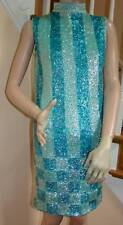 Vintage 1960's Aqua/Teal Sequin Minidress with Checkerboard pattern Size 2-4