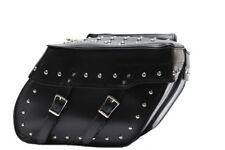 Dream Apparel Motorcycle Saddlebags Studded PVC Black - Waterproof Biker Luggage