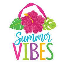 Hawaiian Summer Vibes Mini Hibiscus Sign Glitter Finish 15 x 15cm