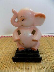 """Vintage """"Pink Elephant"""" Bisque Toothbrush Holder...Japan"""