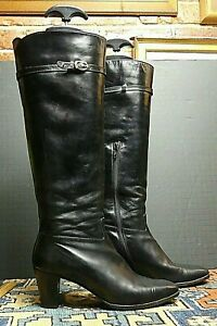 Vintage Women's Ferragamo Italy Black Leather Heeled Boots Sz. 6.5B