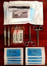 Skin Stapler Pre-Loaded Suture Surgical Kit First Aid Pack Sutures Hemostat EMT