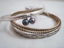 Lucky Brand set/3 silver & gold tone~beads bangle bracelets, NWT