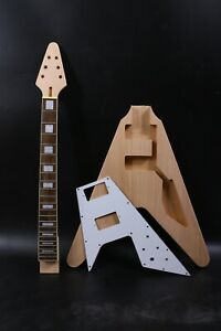 1set guitar Kit Guitar neck 22fret Guitar Body Mahogany Rosewood Flying V Head