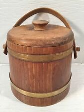 Vintage Wooden Firkin Sugar Bucket w/Wooden Swing Handle