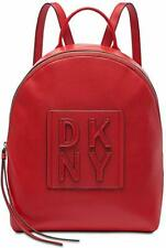 DKNY Tilly Stacked Logo Leather Backpack Red
