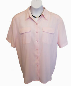 Pink Blouse Size XL 14 16 Camp Shirt MODERN ESSENTIALS Top Gingham Check Plaid