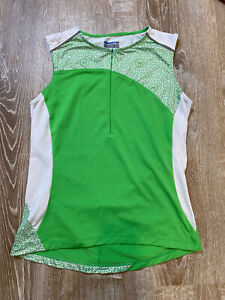 Novara Green White Geometric Print Biking Jersey Size M Womens Sleeveless Zip