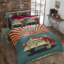 2 X VINTAGE CAR AMERICAN FLAG ROUTE 66 RED CREAM TEAL SINGLE DUVET COVERS