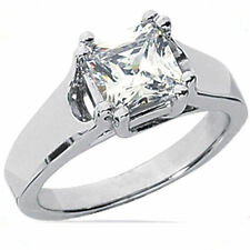 1.01 carat Radiant Cut Diamond Solitaire Engagement Ring 14k White Gold G SI1