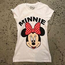 Disney Minnie Mouse Maglietta Bianco Nuovo