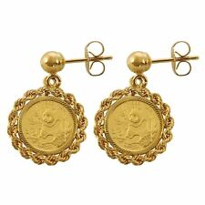 NEW American Coin Treasures Chinese Panda Coin 14KT Coin Earrings 361