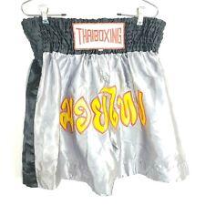 Thai Boxing Shorts Muay Thai Martial Arts 2 Tone Satin Gray & Black Xxxxl Mma