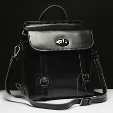 Womens Brown Real leather Backpack Vintage Medium School Rucksack
