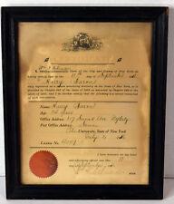 Antique 1916 Dentist Certificate Harry Baron New York City NYC