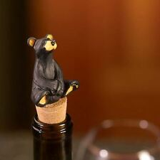Bearfoots Black Bear Cork Wine Bottle Stopper Kitchen Accessory by Big Sky