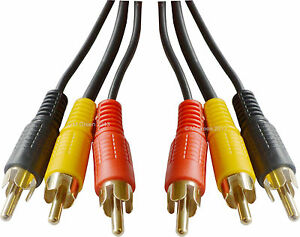 3 RCA to 3 RCAs Phono Video Audio Cable lead Composite Yellow Red Black 10m 33ft