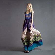 Women's ALBERTA FERRETTI crochet silk prom gown dress multi color size 8 BNWT1