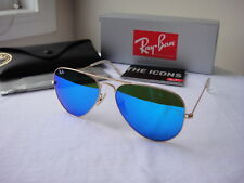 Authentic Ray-Ban Sunglasses Aviator RB3025 112/17 Gold Frame Blue Mirror 58mm