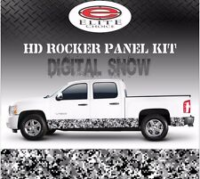 "Digital Snow Camo Rocker Panel Graphic Decal Wrap Truck SUV - 12"" x 24FT"