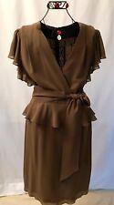 NWOT ESCADA BROWN PEPLUM DRESS, SIZE EU 42/US 10-12