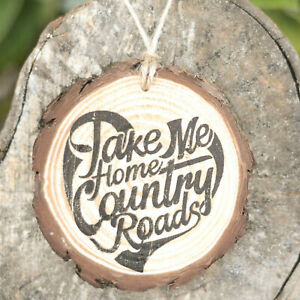 Country Roads Hanging Decoration or Magnet Music Lyrics Rustic Wood Home Car
