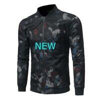 Slim Fit Mens Zipper Long Sleeve Tops Jacket Coat Outwear Baseball Casual Black