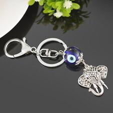 1pc Glass Evil Eye Silver Pendant Elephant Animal Key Ring Chain