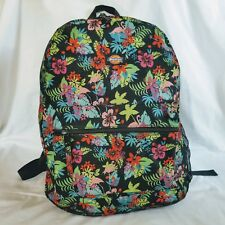 Flamingo Backpack Tropical Hibiscus Flowers Canvas Travel Beach Pink Black