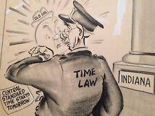 Orig Illustration Political Satire Indiana Time Law 1957 Publication Robinson