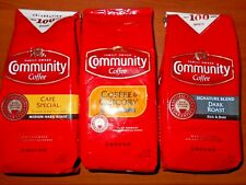 3 Pack Lot Community Coffee Chicory, Cafe Special, Signature Dark Roast, Ground