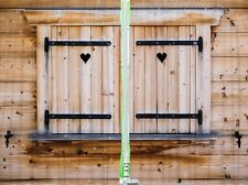 Rustic Wooden Cabin Window Shutters KITCHEN CURTAIN PANEL Set Country Art Decor