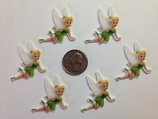 6 Pcs Lot Tinkerbell Flatback Resin Cabochon Hair Bow Center Supplies.