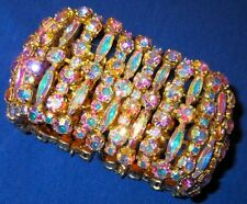 Sherman Humongous Wide Vintage Aurora Borealis Bracelet 1960s Signed