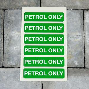 Six Petrol Only Self Adhesive Vinyl Stickers - Green - 80mm x 20mm - SKU5277