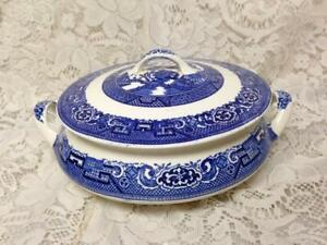 Vintage, Blue Willow  2-pc Round Soup Bowl- Tureen with Lid 8in x 6.5in x 4.5in