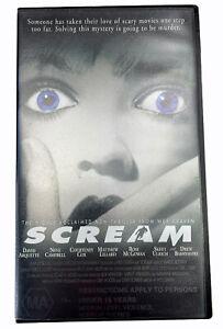Scream Neve Campbell VHS Video Cassette Tape PAL Black Small Box MA15+ 1996