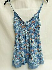 women' dress size M 12/14 ladies floral ditsy sleeveless frill sweetheart blues