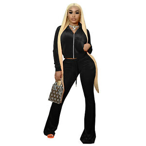 HOT SALE Fashion Women's Zipper Long Sleeves Velvet Wide Leg Pants Set Outfits