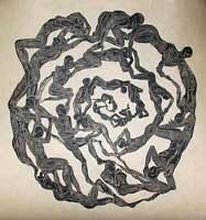 Original Woodcut Print Oculus Surreal Mandala Eye Figures in Circle Large