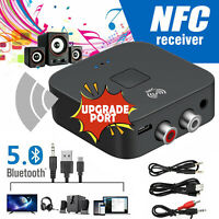 Wireless Bluetooth 5.0 NFC Receiver to 2 RCA 3.5mm Jack Aux Audio Stereo Adapter