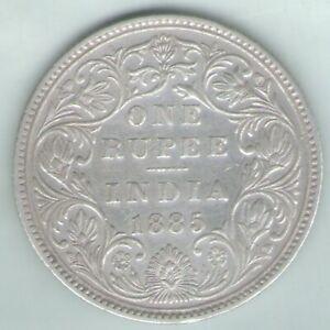 British India 1885 Victoria Empress One Rupee Silver Key Date Rare