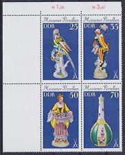 DDR Mi Nr. 2468 - 2471 ** Bogenecke 4er Block, Meissener Porzellan, postfrisch
