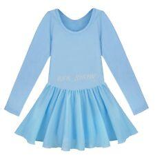 GIRLS LONG SLEEVE CHIFFON LEOTARDS STRETCHY SKIRT DANCE/GYM/BALLET SPORTS DRESS