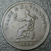 1814 TRADE & NAVIGATION ONE PENNY TOKEN - COPPER - Br 962 NS-20B3 - Nice Details