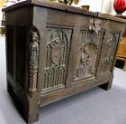ANTIQUE OAK TRUNK w/ CARVED Madonna & Child.Gothic revival. Made in Belgium 1900