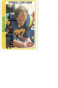 FRED   DRYER   RAMS        AUTOGRAPHED    CARD